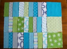 "30 x 5"" Squares Geometric Prints in Teal & Green Quilting Patchwork Fabrics"