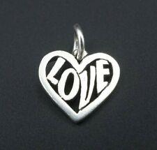 "Retired James Avery Sterling Silver Full Of Love Heart Charm 1/2"" CHS1433"