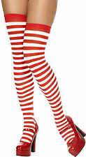 Red & White Striped Style Fancy Dress Socks Tights Stockings