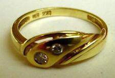 Diamant Brillant-Ring m. 2 Brillis echt Gold 585 no Bruchgold 1,5g  Gr.15 =klein