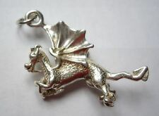 Sterling Silver Quality Mythical Winged Fantasy Dragon Pendant Charm UK Seller