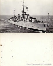 BRITISH DESTROYER OF THE TRIBAL CLASS UNUSED PHOTOGRAPH POSTCARD
