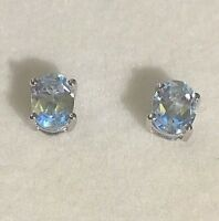 Oval cut real aquamarine gemstones sterling silver stud earrings BOXED Plum UK