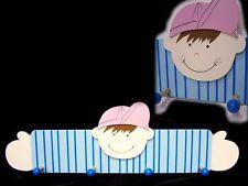 süße Kinder Garderobe JUNGE mit 4 Kleiderhaken B 57 cm Wandgarderobe Holz NEU