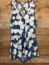 Umgee Tie Dye Romper NWT Boutique Sleeveless Tassels Blue and White Pockets