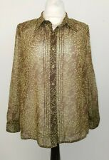 Elvi size 20 green sheer long sleeve patterned blouse plus size