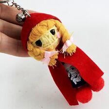Little Red Riding Hood Cap Doll Girl Voodoo Keychain Key Ring Handmade Craft