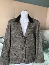 NWT CAbi Fox Hunt Equestrian Tweed Blazer, 88% Wool, Black & Gray, Size 12, $30