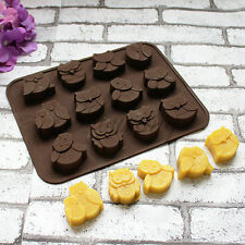 Silicone 12-Owls Cake Decorating Mould Candy Cookies Chocolate Baking Mold