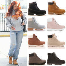 Ladies Womens Ankle Boot Lace Up Casual Fashion Rubber Grip Sole Shoes Size 3-8