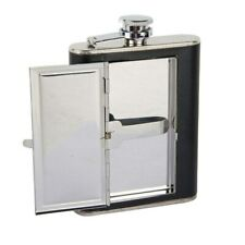 Leather Hip Flask 6oz Whiskey Alcohol Metal Flask Flagon Cigaret Container Case