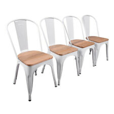 White Steel Dining Chair with Wooden Seat, Garden Chair for Restaurant Bistro