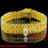 Men's Womens New 2 Row Lab Simulated Canary Yellow Gold Finish Tennis Bracelet