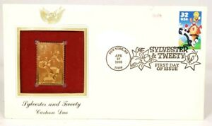 1998 First Day Issue 22k Gold Stamp Looney Toons Sylvester Tweety USPS Licensed