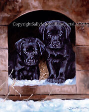 Labrador Puppies dog, Christmas cards pack of 10 by John Trickett. C243X