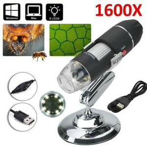 1600X Zoom 8 LED USB Microscope Digital Magnifier Endoscope Camera Video Stands