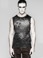 Punk Rave Men's Steampunk Rock Cyber Sleeveless Black T-shirt Top