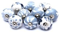 Grey and White Ceramic Knobs Hand painted Kitchen Cabinet Drawer Pulls Knobs