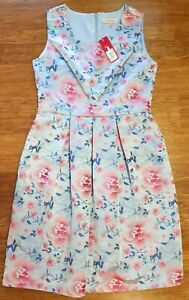 Diana Ferrari Sleeveless Floral Pleated A-Line Dress Size 12 Brand New With Tags
