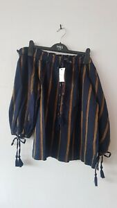 Ladies Navy Striped Bardot Top Size 16 From Next Brand New