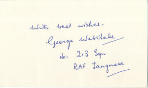 Group Captain George Westlake -  'Battle Of Britain Pilot'  Hand Signed Card.