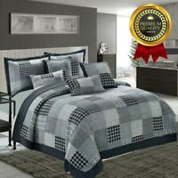 3 PCS QUILTED BEDSPREAD EMBOSSED BED THROW COMFORTER SET with 2 pillow case
