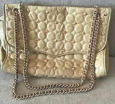 REBECCA MINKOFF Studded Affair Shoulder Bag Quilted Leather Beige Chain Strap
