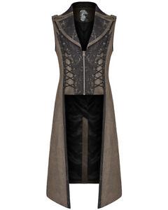 Punk Rave Mens Steampunk Long Waistcoat Vest Jacket Brown Black Gothic Victorian
