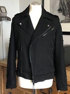 NEW! Men, ZARA 34/36'' Small Chest Black Quilted Diamond Lined Zips Biker Jacket