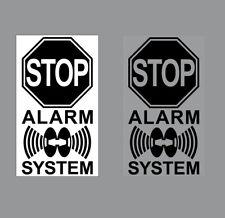 Set Aufkleber 4cm schwarz Stop Alarm System gespiegelt normal Fenster Innenseite