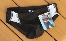 NEW JM Waves -32 M Men's BLACK WHITE Swim Bikini Speedo Brief Short