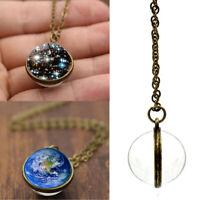 cristal Joyas Sistema solar, collar Galaxy Ball De doble cara Planeta colgante