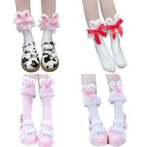 Lolita Kawaii Cotton Crew Socks Plush Rabbit Bunny Ears Bow Lace Anime Hosiery