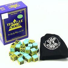 24 pcs Green TRIANGLE Snooker & Pool Chalk & Cotton Drawstring Bag