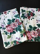 Waverly Home Pleasant Valley Curtain Valances PAIR Roses Berries Leaves 16 X 78
