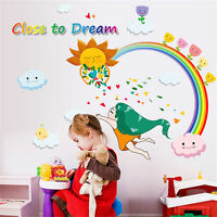 Rainbow Girl Room Home Decor Removable Wall Stickers Decals Decoration