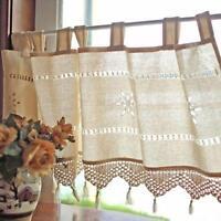 """18x60 """"Retro Country Crochet Fenêtre en lin à demi rideau Blackout Drape"""