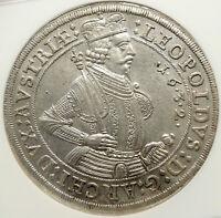 1632 AUSTRIA Holy Roman Empire ARCHDUKE LEOPOLD V Silver Taler Coin NGC i85148