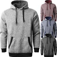 Mens PULLOVER HOODIE Brushed MARLED Fleece Lightweight Solid Sweater Tee Shirts