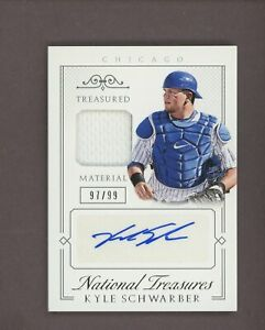 2015 National Treasures #59 Kyle Schwarber Cubs RC Rookie Jersey AUTO 97/99