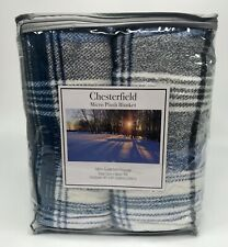 Chesterfield Micro Plush Blanket -Never Pill- Full/Queen -Blue Gray Plaid -NOS