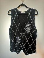 Vintage M Lambs Wool Angora Sweater Vest Sleeveless Knit Cardigan Pattern Medium