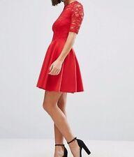 Skater Kleid Fit und Flare rot Spitze Skater Mini Kleid