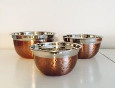 COPPER ROSE GOLD HAMMERED DIMPLE KITCHEN STORAGE MIXING BOWLS LID AIRTIGHT