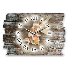 Koi Fisch Landhaus Shabby Funk Wanduhr leise Funkuhr aus Holz * Kreative Feder