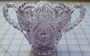 8978 Antique sun purpled glass sugar bowl, beautiful molded complex designs