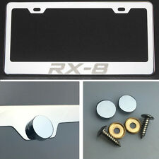 RX-8 Laser Engraved Polish Stainless Steel License Plate Frame Chrome Screw Cap