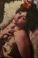 "NEW WILLIAM OXER ORIGINAL CANVAS ""Burlesque"" Pretty Woman Girl PAINTING"