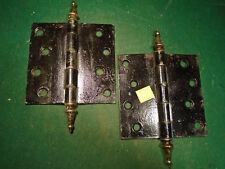 ONE PAIR 4 1/4 x 4 1/2 STEEPLE TOP HINGES - SAVLAGED (6 SETS AVAILABLE) (10387)