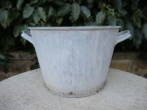 Vintage Galvanised Garden Planter Tin Bath  34 cm Diameter (426)